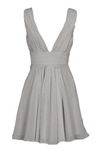 Diseño V-cuello de la Toscana de novia vestido gasa cóctel por la noche vestidos de fiesta de antiguos alumnos de fiesta corto plata
