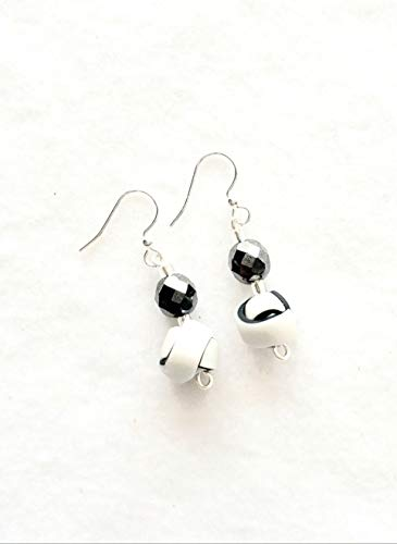 Pearl White and Black Strip Ball Earrings Handcrafted Polymer Clay Shiny Glass Bead French Hooks Lightweight