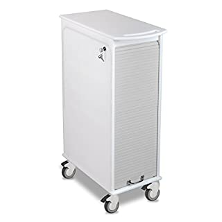 """TrippNT 51063 Polyethylene Lockable Narrow Cart with Gray Front, 12"""" Width x 35"""" Height x 17"""" Depth, White"""