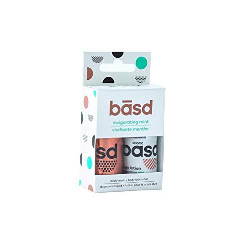 Basd Invigorating Mint Natural Skin Care Travel Size Set, Includes Body Lotion & Body Wash, TSA Approved, Moisturizing, Vegan, Hypoallergenic