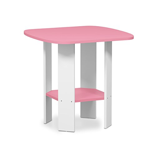 Furinno 11180PI Simple Design End/Side Table, 1-Pack, Pink/White (Kids Accent Table)