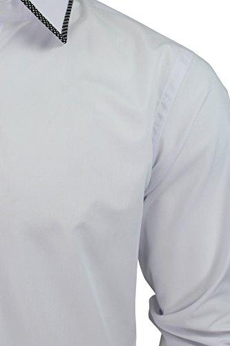 Uomini Camicia Formale Di Xact Con Colletto & Polsino Bordo (Bianco) L