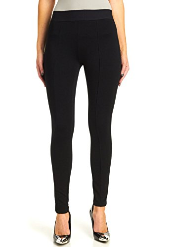 HUE Women's Plus-Size High Waist Black Out Ponte Leggings, Black, XXL