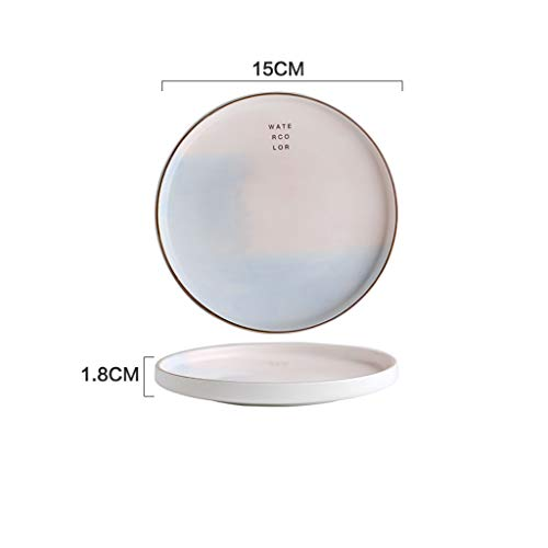 FQDSWS Pink Blue Girl Creative Contrast Color Gold Ceramic Plate Home Dish Steak Plate Western Dish Simple English Alphabet Cake Bread Fruit Breakfast Plate (Size : B) ()