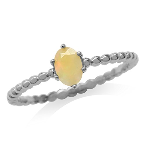 Genuine Opal White Gold Plated 925 Sterling Silver Bead Ball Stack/Stackable Ring Size 6.5 ()