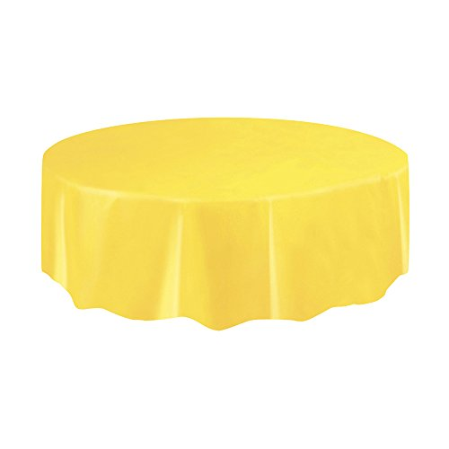 Round Light Yellow Plastic Tablecloth