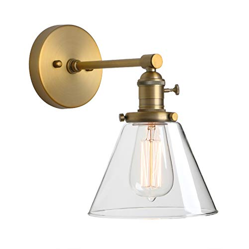 Phansthy Antique Industrial Wall Sconce 1-Light 7.3 Inch Cone Wall Light Fixture for Bathroom Kitchen Bedroom(Antique)