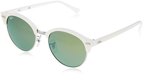 Ray-Ban Men's Clubround Flash RB4246 988/2X Non-Polarized Sunglasses, White Silver/Green Mirror, 51 - Ray Master Club Bans