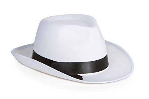 Kangaroo White Felt Gangster Hat - Mobster Fedora (Black Or White Costume Michael Jackson)