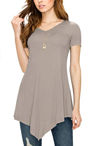 (Made By Johnny MBJ WT638 Womens V Neck Asymmetrical Tunic Top XXL Taupe)