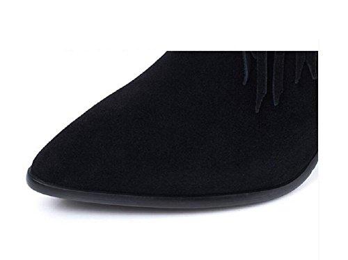 In camoscio con frange Stivali Chunky tacchi a punta alta cranio Patch per Ankle Bootie autunno/inverno donna , 39