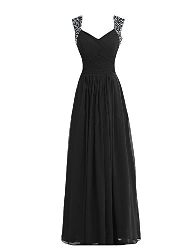 Tidetell V-neck Bridesmaid Chiffon Prom Dresses Long Evening Gowns Black Size 16
