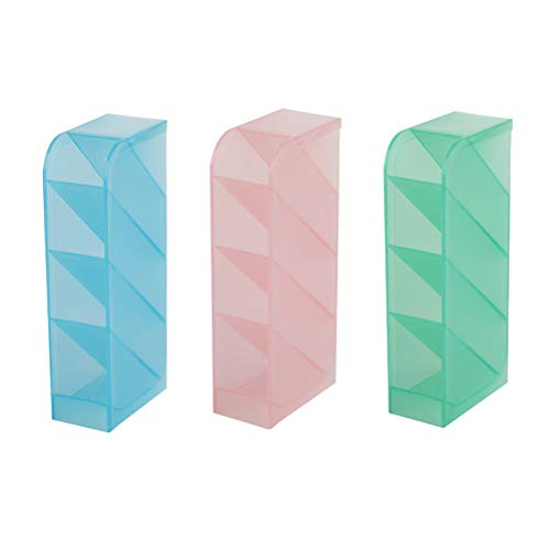 TOYANDONA 3pcs Translucent Pencil Pen Holder Plastic Pen Storage Makeup Desk Organizer for Student Office School (Green, Pink and Blue, Each 1pc) - Green Translucent Pen