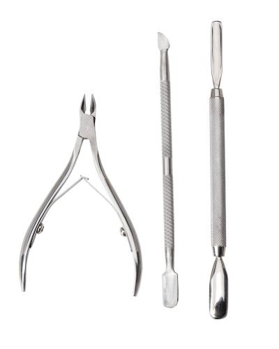 Great Value And Quality Set of 3 Stainless Steel Manicure Nails Tools Including Cuticles Pushers, Cutters And Nippers By VAGA