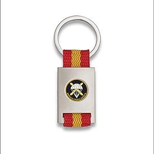 Tiendas LGP Albainox- Llavero Bandera DE ESPAÑA y Emblema Bridada Paracaidista, Plateado 2