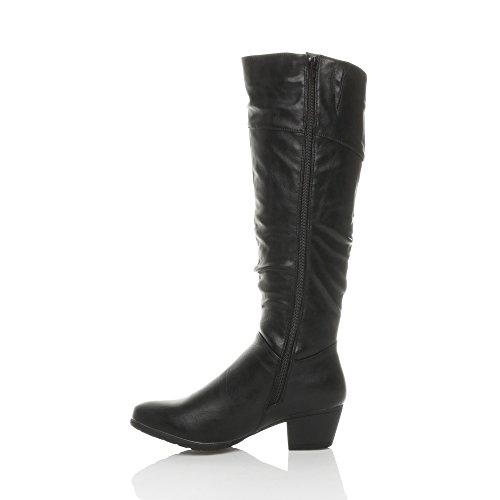Riding Size Heel Ajvani Slim Boots Womens Zip Ladies Cowboy Calf mid Matte Black Cuban Knee Ruched wqvrIOq0