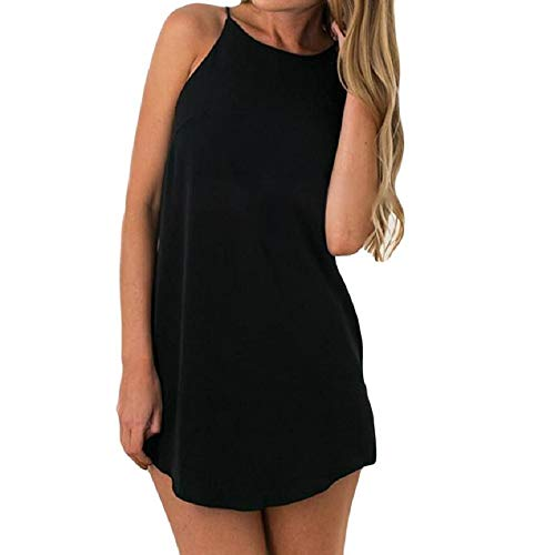 iLOOSKR Fashion Women Party Dress Solid Color Casual Sleeveless Mini Beach Dress Evening Party Dress Black