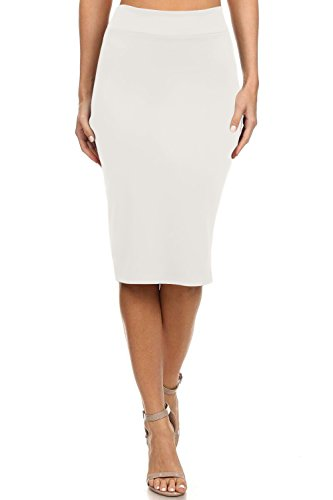 Simlu Ivory Pencil Skirts For Women Off White Skirts For Women Knee Length, Small