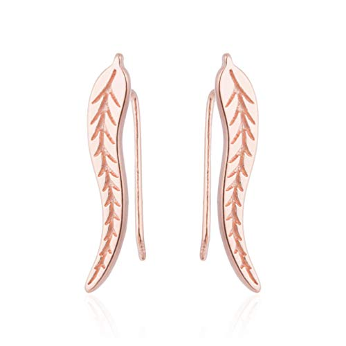 JUESJ Simplicity Willow Strip Leaf Feather Earrings,Carving Veins Ear Clip Ear Studs Ear Sticking Type Earrings for Women Girls Valentine's Day Gifts. (Rose gold)