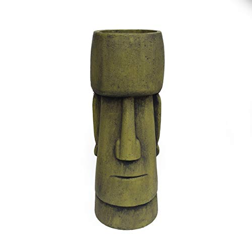 Great Deal Furniture 309259 Major Outdoor Easter Island Tiki Urn, Antique Green Finish