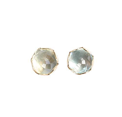- Genuine AQUAMARINE Gemstone 14k gold filled Stud Earring- 7mm- March Birthstone