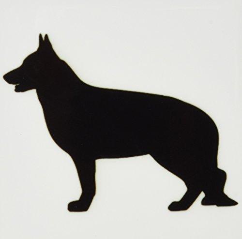- 3dRose CST_149858_3 German Shepard Silhouette Dog Lovers-Ceramic Tile Coasters, Set of 4