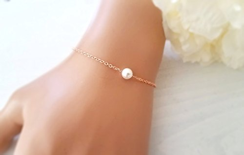 - Rose Gold Bracelet, Single Pearl Bracelet, Wedding Bracelet Set, Bridesmaid Gift