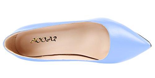 Aooar Mujeres Tacón Alto Slip On Pointy Vestido Bombas Zapatos Azul Claro Pu
