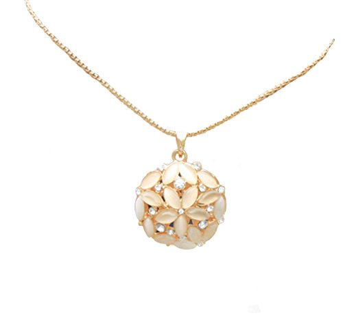 (IDB Productions IDB Flower and Simulated Cat's Eye Pendant Necklace with Long Drop Chain - Approx length: Chain 30