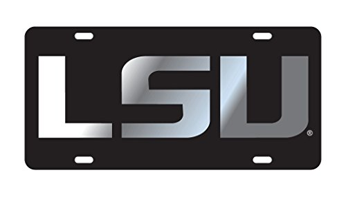 LSU TIGERS Black-Silver Mirrored License Plate Tag ()