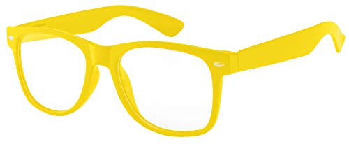 Retro Style Classic Vintage Sunglasses Yellow Frame with Clear Lens for Women OWL.