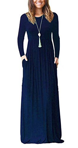 AUSELILY Women's Long Sleeve Long Maxi Dresses Plus Size with Side Pockets (XL, Navy Blue)