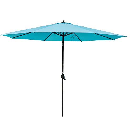 Sundale Outdoor 11 ft Aluminum Patio Umbrella Table Market Umbrella with Crank and Push Button Tilt for Graden, Deck, Backyard, Pool, 8 Steel Ribs, Polyester Canopy (Blue)