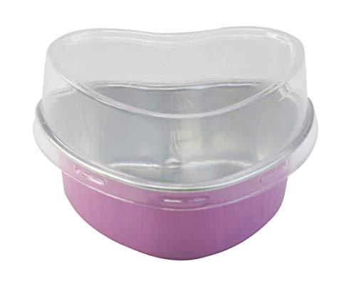KitchenDance Disposable Aluminum Mini 3.5 ounce Heart Shaped Cake Pans/Dessert Pans with Lids- Pack of 100 pans & 100 lids (Pink)