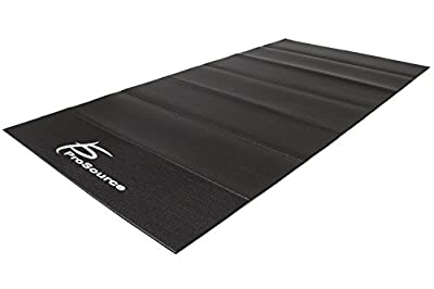 "ProSource Treadmill & Exercise Equipment Mats, Folding (7'L x 3'W x ¼""T) & Regular (6.5'L x 3'W x 5/32""T) Designs, High Density PVC Floor Protector"