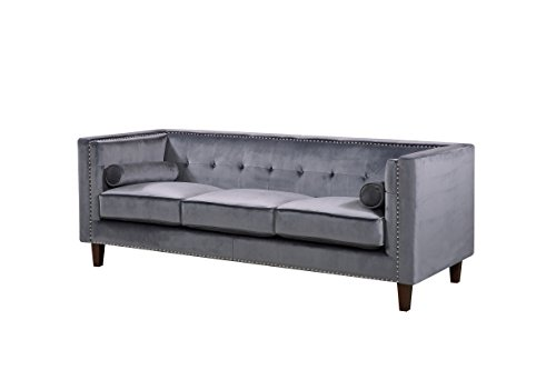Container Furniture Direct S5370-L Kittleson Velvet Upholstered Modern Chesterfield Loveseat with Nailhead Trim, Gray
