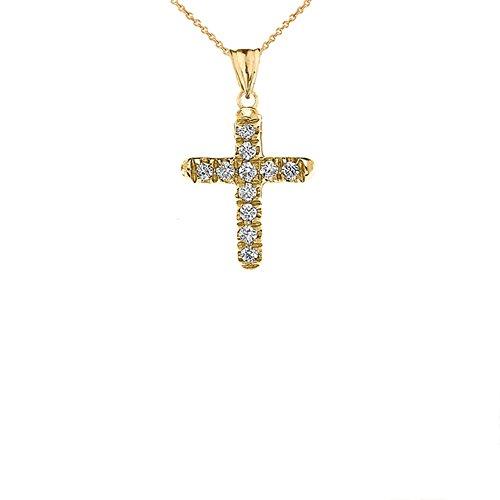Elegant 10k Yellow Gold Diamond Mini Cross Pendant Necklace, 16