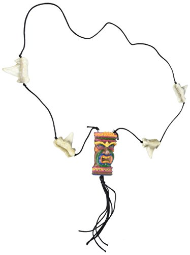 Tiki Necklace w/Shark Teeth Beads Party Accessory (1 count) (1/Card) -