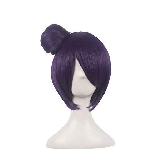 WildCos Short Purple Cosplay Wig for Woman+1 ponytails