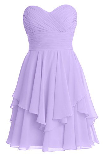 Lavendel Women Tiered MACloth Wedding Dress Bridesmaid Cocktail Short Strapless Party TnS7Ozq