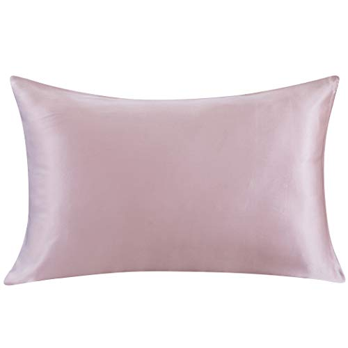 Quilted Silk Pillow - ZIMASILK 100% Mulberry Silk Pillowcase for Hair and Skin,Both Side 19 Momme Silk, 1pc (Queen 20''x30'', Light Plum)