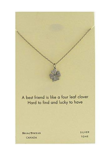 Shag Wear Make a Wish and Luck Inspirations Quote Pendant Necklace (Four Leaf Clover, Luck ()