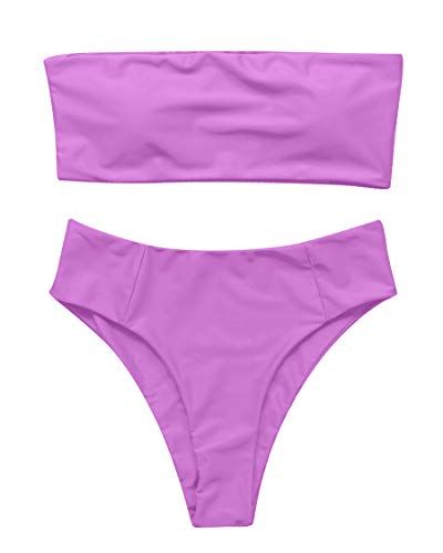 (MOSHENGQI Bandeau Bikini Set Off Shoulder High Waist 2 Pieces Swimsuits for Women High Cut(Small,Purple63))