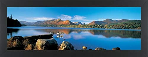 Easy Art Prints Panoramic Images's 'Reflection of Mountains in Water, Derwent Water, Lake District, England' Premium Framed Canvas Art - 30