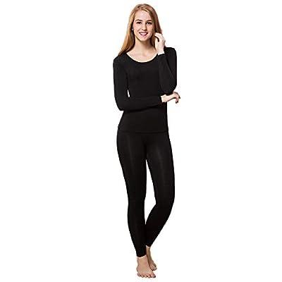 Thermal Underwear Women Ultra-Soft Long Johns Set Base Layer Skiing Winter Warm Top & Bottom at Women's Clothing store