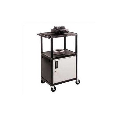 High Low Priced Open Shelf Table AV Cart with Locking Cabinet Luxor Open Shelf Table