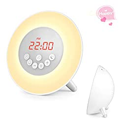Sunrise Alarm Clock, Wake Up Light with 7 Nature Sounds, FM Radio, Digital Clock, FM Radio and Touch Control, Snooze Function