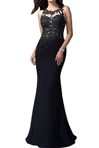 collo partito pizzo lungo vestito Nero rotondo abito abito linea della di da del Fest da abito alta sera Prom ivyd qualità donna ressing q6vfSv