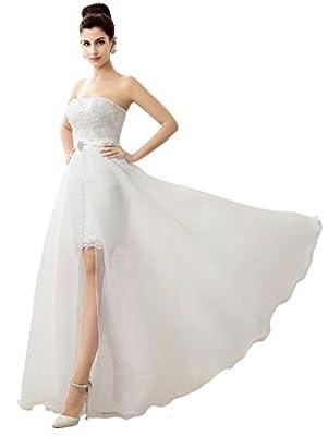 Edith qi Fashion Latest Sleeveless Lace Sweetheart Neckline with Detachable Wedding Dress