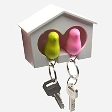 COSMOS White Birdhouse with 2 whistle Sparrow Key Ring Holder (Pink and Green)